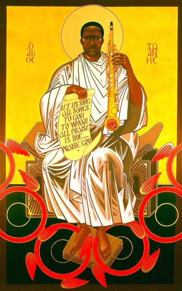 Saint Painting - Saint John Coltrane Enthroned by Mark Dukes