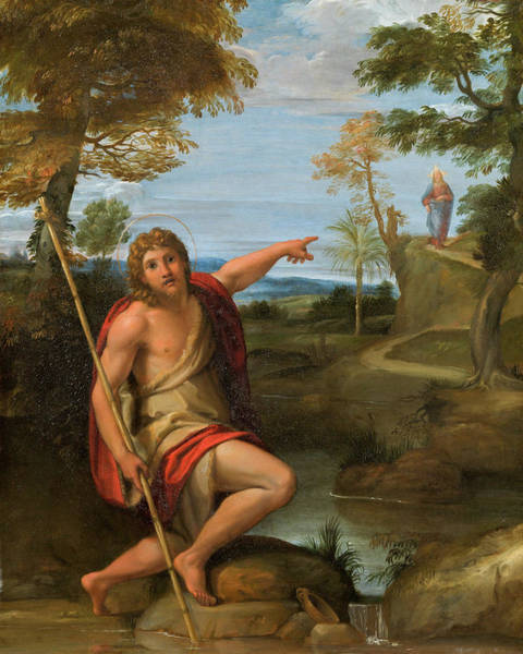 Redeemer Wall Art - Painting - Saint John The Baptist Bearing Witness by Annibale Carracci