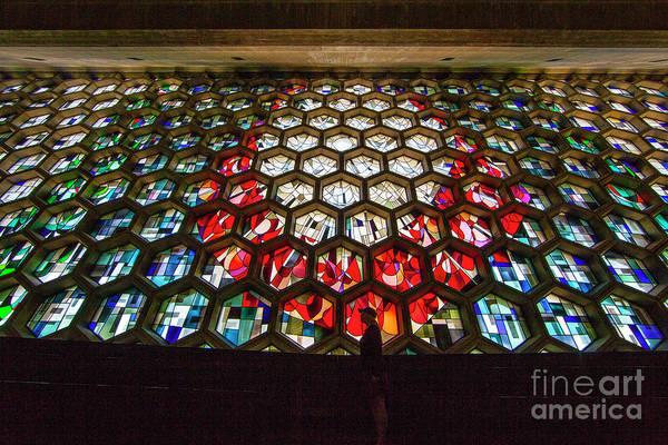 Photograph - Saint John's University Abbey Stained Glass Window by Wayne Moran