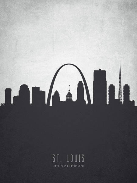 Wall Art - Painting - Saint Louis Missouri Cityscape 19 by Aged Pixel