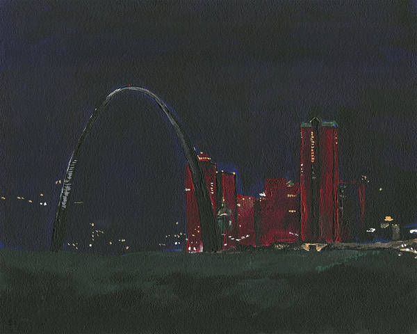 Painting - Saint Louis Skyline by Joseph A Langley