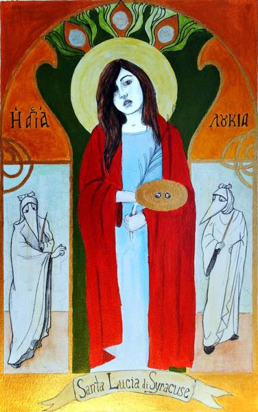 Eyeballs Painting - Saint Lucy by Josean Rivera
