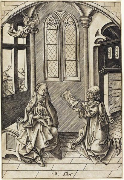 Drawing -  Saint Luke Drawing A Portrait Of The Virgin by Israhel van Meckenem