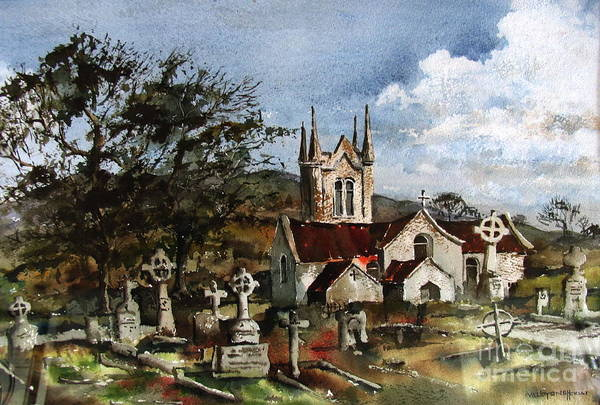 Painting - Wicklow.. Saint Macanoges Church by Val Byrne