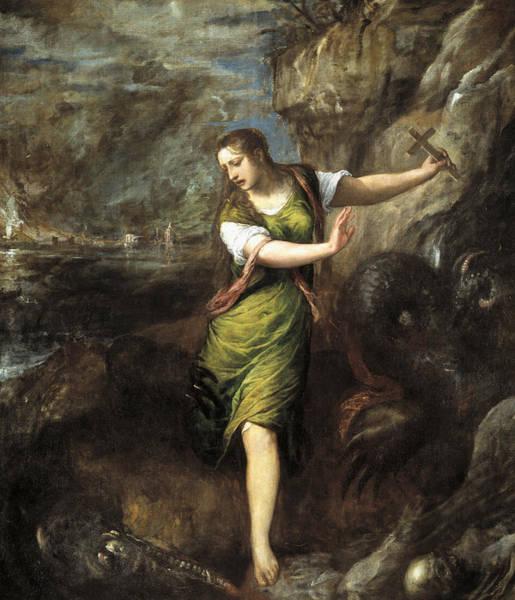 Titian Painting - Saint Margaret  by Titian