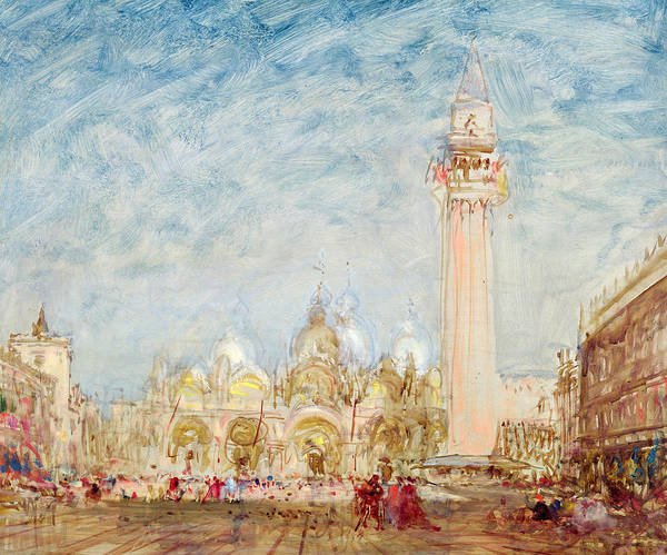 Square Tower Painting - Saint Mark's Square In Venice by Felix Ziem