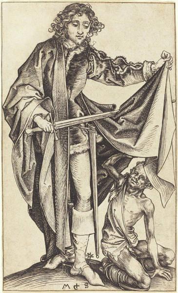 Drawing - Saint Martin Dividing His Cloak by Martin Schongauer