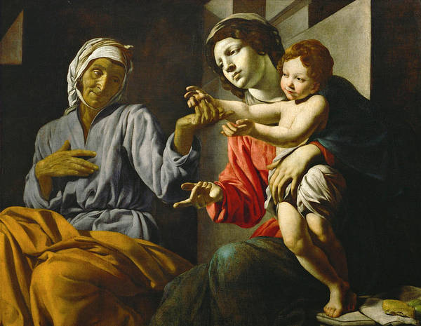 Saint Anne Painting - Saint Mary With Child And Saint Anne by Battistello Caracciolo
