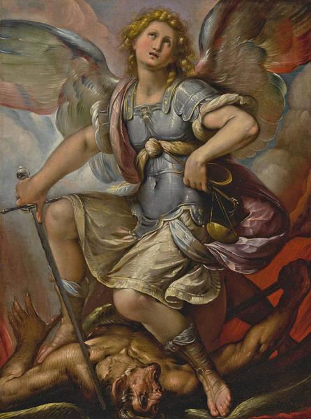 Procaccini Painting - Saint Michael Archangel by Studio of Giulio Cesare Procaccini