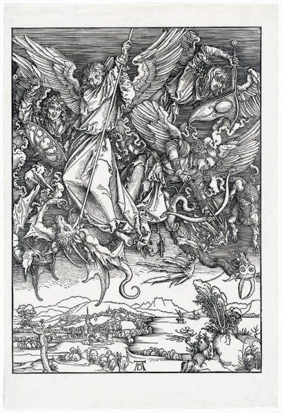 Drawing - Saint Michael Fighting The Dragon by Albrecht Durer