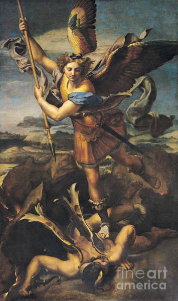 Satan Painting - Saint Michael Overwhelming The Demon by Raphael