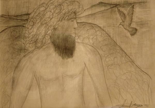 Drawing - Saint Michael The Archangel by Edward Longo
