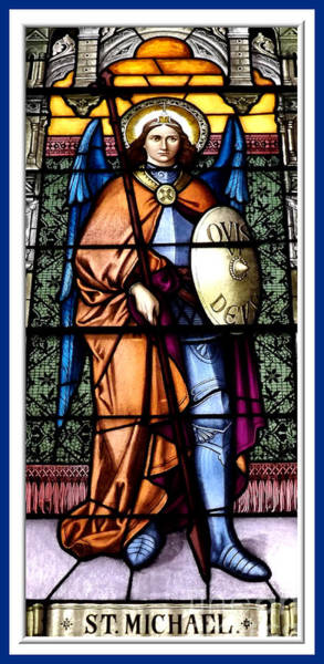 Photograph - Saint Michael The Archangel Stained Glass Window by Rose Santuci-Sofranko
