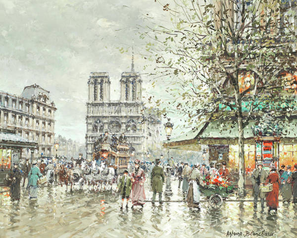 Town Square Wall Art - Painting - Saint Michel Square, Notre Dame by Antoine Blanchard