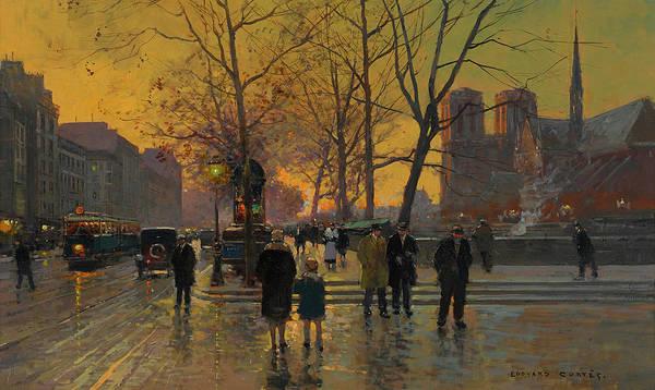 Notre Dame Painting - Saint-michel Square, Notre Dame by Edouard Henri Leon Cortes