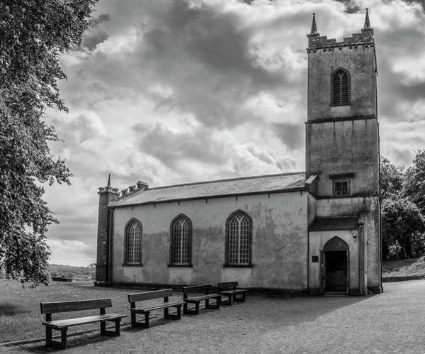 Photograph - Saint Patricks Church On The Hill Of Tara Bw by Teresa Wilson