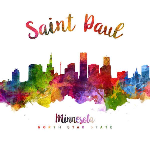 Wall Art - Painting - Saint Paul Minnesota Skyline 23 by Aged Pixel