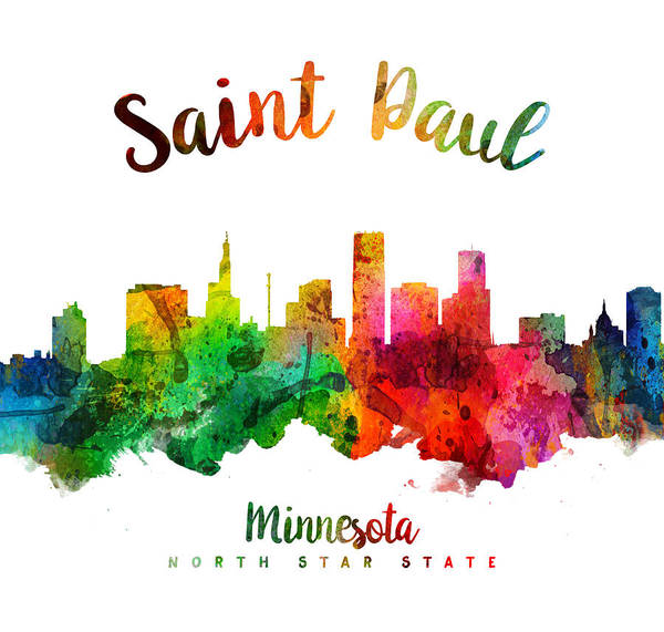 Wall Art - Digital Art - Saint Paul Minnesota Skyline 24 by Aged Pixel