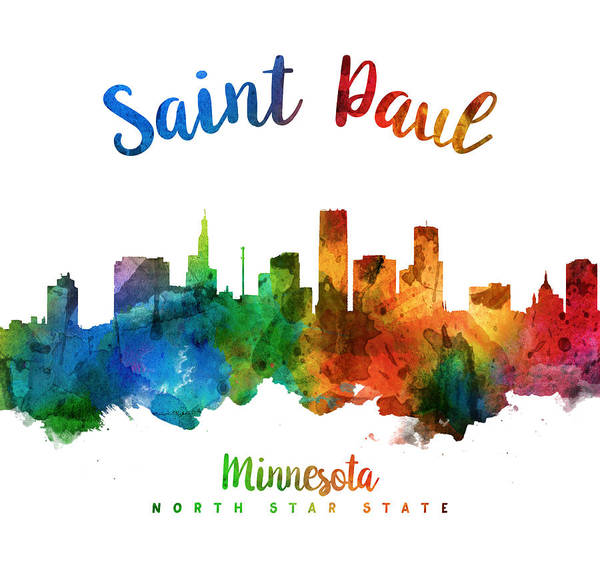Wall Art - Painting - Saint Paul Minnesota Skyline 25 by Aged Pixel