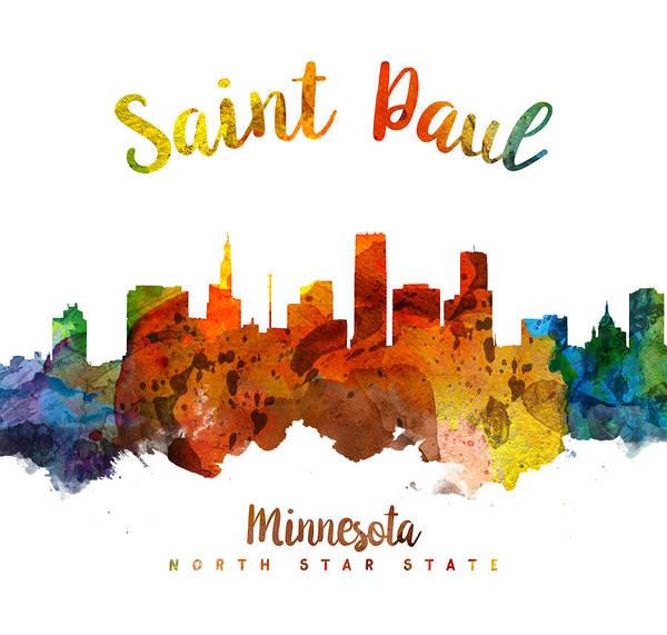 Wall Art - Painting - Saint Paul Minnesota Skyline 26 by Aged Pixel