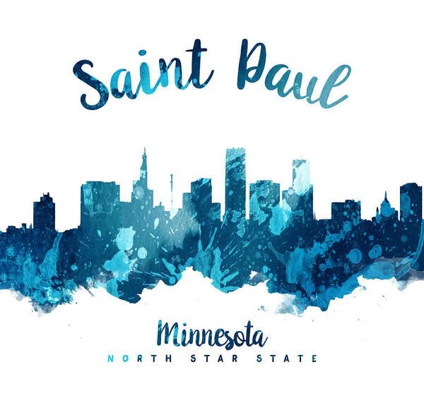 Wall Art - Painting - Saint Paul Minnesota Skyline 27 by Aged Pixel