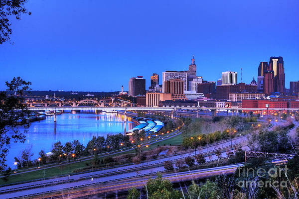 Wall Art - Photograph - Saint Paul Minnesota Skyline Blue Morning Light by Wayne Moran