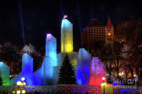 Photograph - Saint Paul Winter Carnival Ice Palace 2018 Lighting Up The Town by Wayne Moran