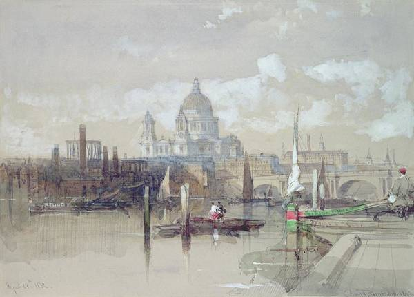 Gloomy Painting - Saint Pauls From The River by David Roberts