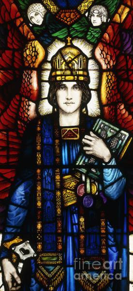 Wall Art - Glass Art - Saint Peter Stained Glass by Harry Clarke