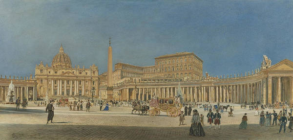 Painting - Saint Peter's Rome by Rudolf von Alt