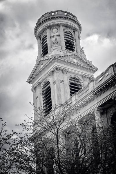 Photograph - Saint Sulpice Paris Bw by Joan Carroll