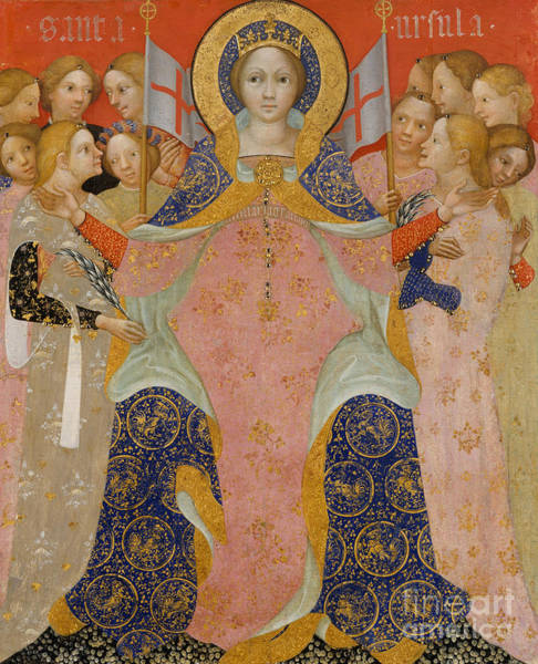 Pilgrimage Painting - Saint Ursula And Her Maidens by Nicolo di Pietro