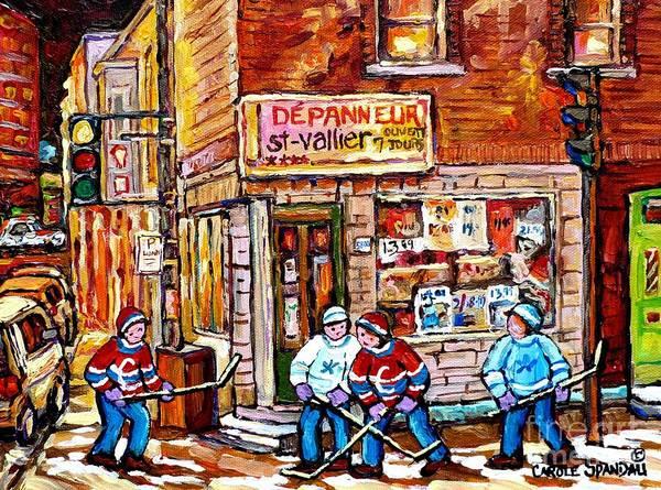 Painting - Saint Vallier Depanneur Hockey Art Canadian Winter Scene Montreal Memories Carole Spandau            by Carole Spandau