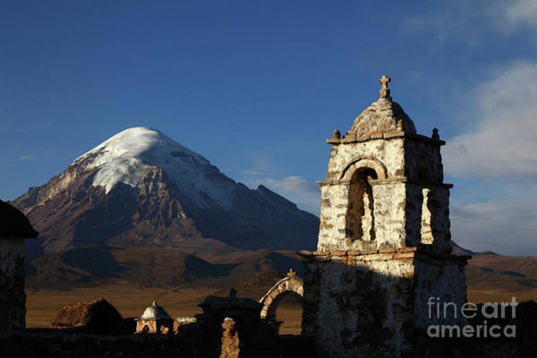 Photograph - Sajama Volcano And Lagunas Church Belfry Bolivia by James Brunker