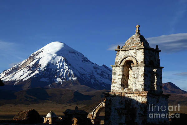 Photograph - Sajama Volcano And Lagunas Church Tower Bolivia by James Brunker