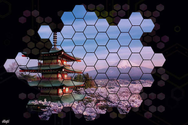 Beehive Digital Art - Sakura Of Fuji Mountain  by Photo Design AJ