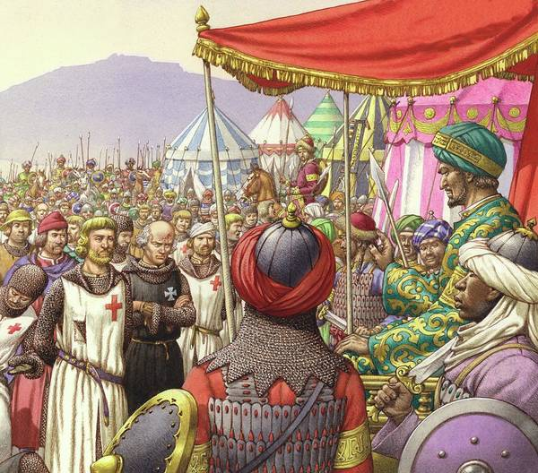 Encampment Wall Art - Painting - Saladin Orders The Execution Of Knights Templars And Hospitallers  by Pat Nicolle