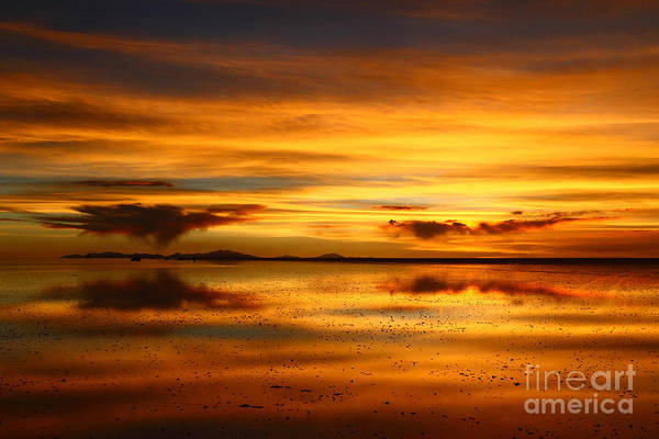 Photograph - Salar De Uyuni Sunset Reflections by James Brunker
