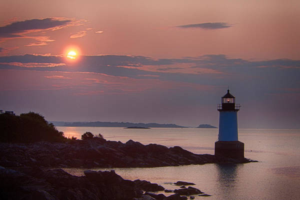 Photograph - Salem's Lighthouse At Dawn First Light by Jeff Folger