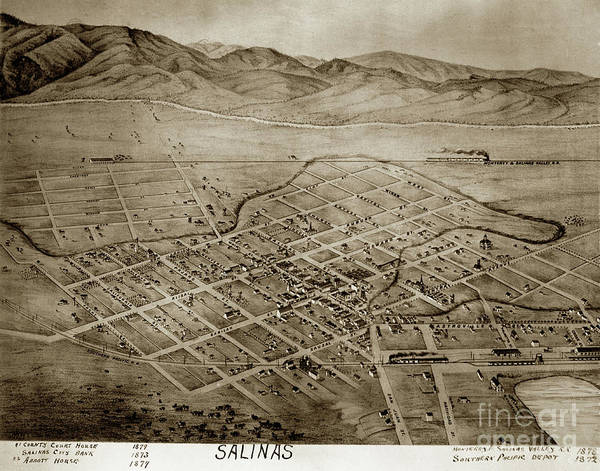 Photograph - Salinas California Circa 1879 by California Views Archives Mr Pat Hathaway Archives