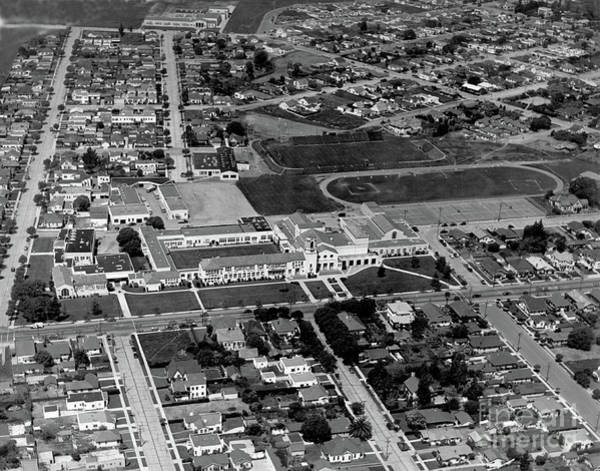 Photograph - Salinas High School 726 S. Main Street, Salinas Circa 1950 by California Views Archives Mr Pat Hathaway Archives