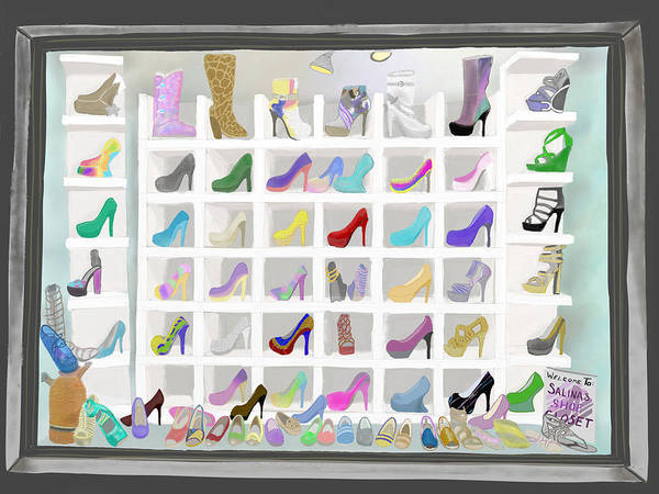Painting - Salina's Shoe Closet by Melinda Ledsome