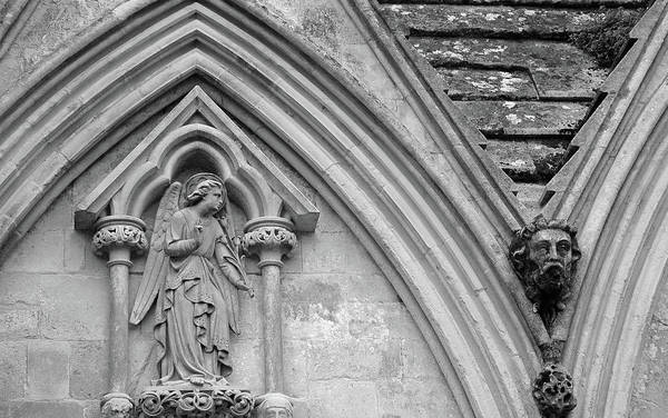 Photograph - Salisbury Cathedral Closeup Black And White by Bruce Gourley