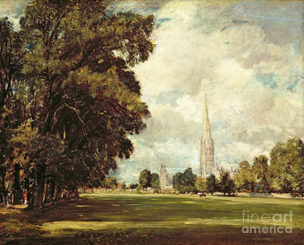 Church Spire Wall Art - Painting - Salisbury Cathedral From Lower Marsh Close by John Constable