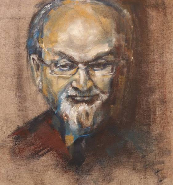 Painting - Salman Rushdie Portrait by Christel Roelandt