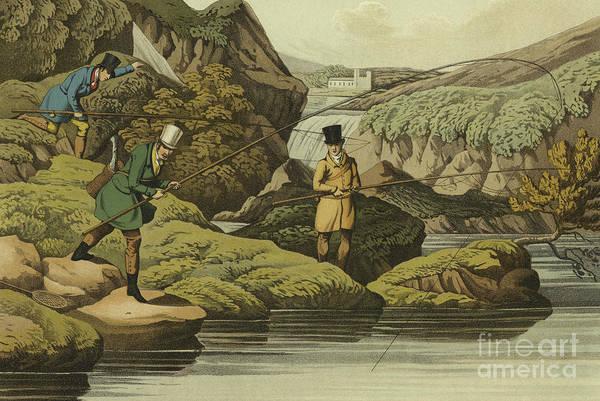 Salmon Painting - Salmon Fishing by Henry Thomas Alken