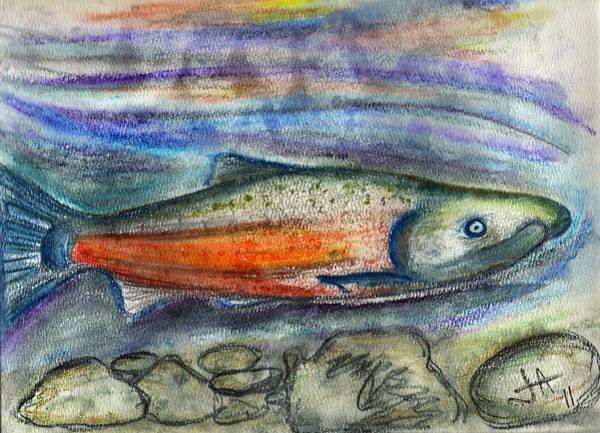 Spawn Painting - Salmon Run by Jennifer Addington