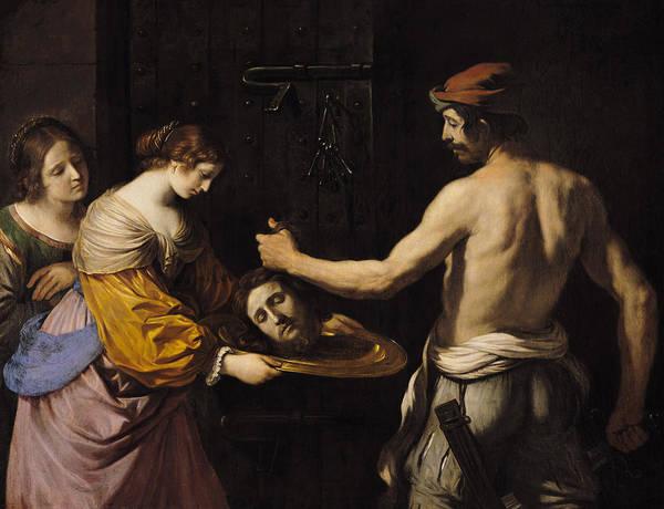 Beheaded Wall Art - Painting - Salome Receiving The Head Of St John The Baptist by Giovanni Francesco Barbieri