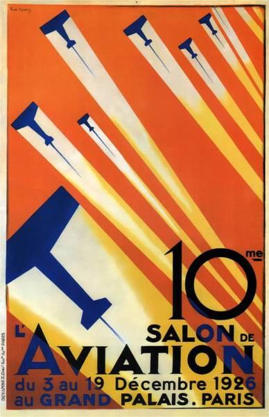 Wall Art - Photograph - Salon De Aviation - Au Grand Palais, Paris 1926 - Airshow - Retro Travel Poster - Vintage Poster by Studio Grafiikka