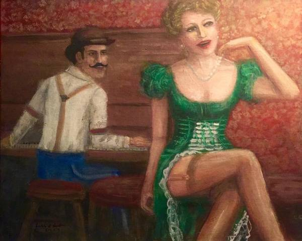 Piano Bar Painting - Saloon Entertainers  by Larry E Lamb